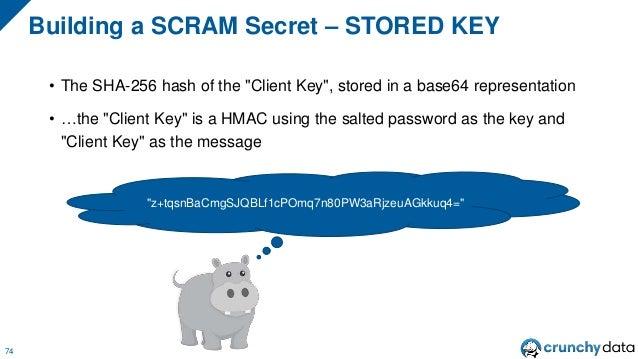 "Stored Key 75 Plaintext Password Salted Hashed Password Client Key Salt Hash Iterations HMAC HMAC ""Client Key"" SHA-256 Sto..."