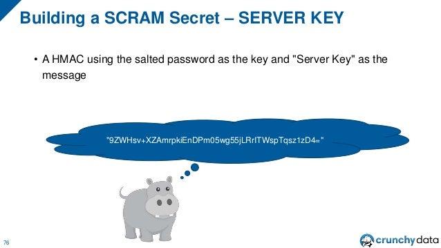 """Server Key 77 Plaintext Password Salted Hashed Password Server Key Salt Hash Iterations HMAC HMAC """"Server Key"""""""