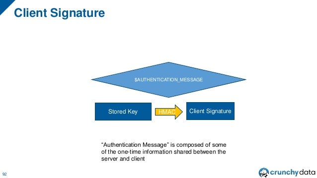 SCRAM Authentication Flow: Generating Proof 93 And I can generate the client proof by calculating client key XOR client si...