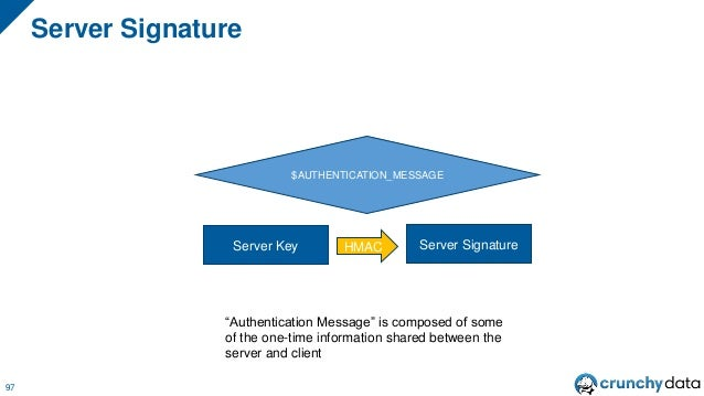 "SCRAM Authentication Flow 98 Here's my server signature: ""DOCb6oniIvWOCY0aDWKGtaUtUip3wgcQQA1PO5dp1dU="""