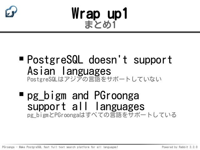 PGroonga - Make PostgreSQL fast full text search platform for all languages! Powered by Rabbit 2.2.0 Wrap up1 まとめ1 Postgre...