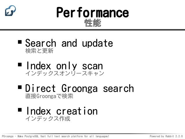 PGroonga - Make PostgreSQL fast full text search platform for all languages! Powered by Rabbit 2.2.0 Performance 性能 Search...