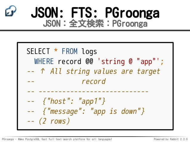 PGroonga - Make PostgreSQL fast full text search platform for all languages! Powered by Rabbit 2.2.0 JSON: FTS: PGroonga J...