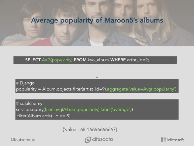 @louisemeta Average popularity of Maroon5's albums SELECT AVG(popularity) FROM kyo_album WHERE artist_id=9; # Django popul...