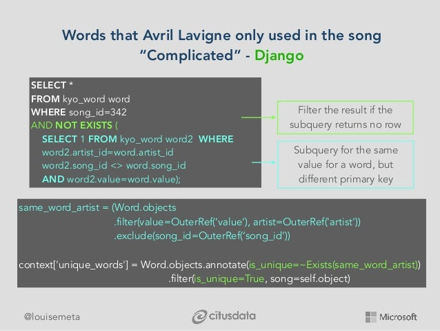 """@louisemeta Words that Avril Lavigne only used in the song """"Complicated"""" - Django SELECT * FROM kyo_word word WHERE song_i..."""