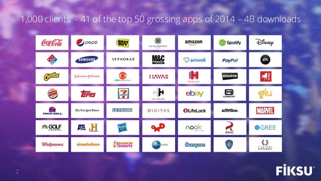 2 1,000 clients - 41 of the top 50 grossing apps of 2014 – 4B downloads