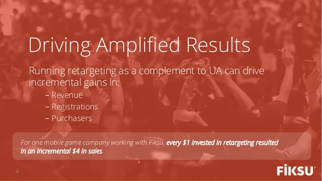 Running retargeting as a complement to UA can drive incremental gains in: -Revenue -Registrations -Purchasers Driving A...