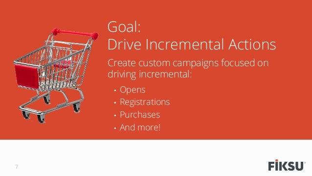 Create custom campaigns focused on driving incremental: • Opens • Registrations • Purchases • And more! Goal: Drive In...
