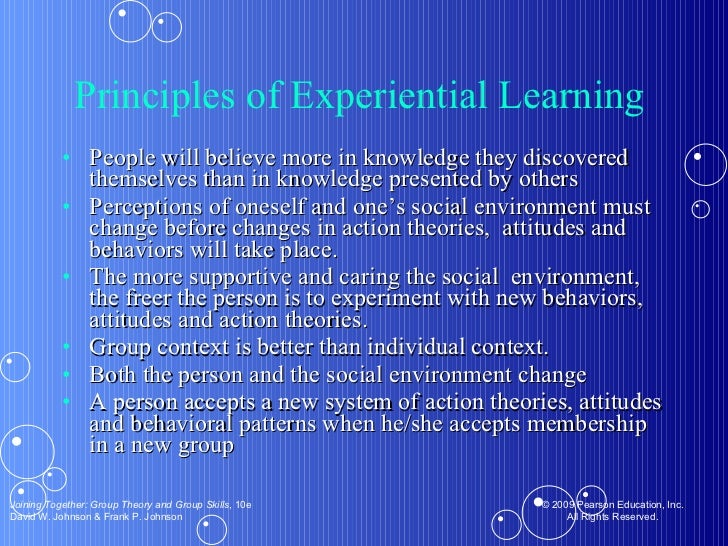Principles of Experiential Learning  <ul><li>People will believe more in knowledge they discovered themselves than in know...