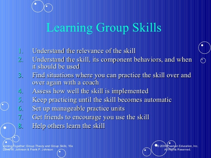 Learning Group Skills  <ul><li>Understand the relevance of the skill </li></ul><ul><li>Understand the skill, its component...