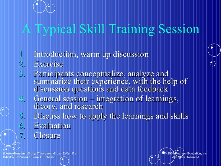 A Typical Skill Training Session <ul><li>Introduction, warm up discussion </li></ul><ul><li>Exercise  </li></ul><ul><li>Pa...