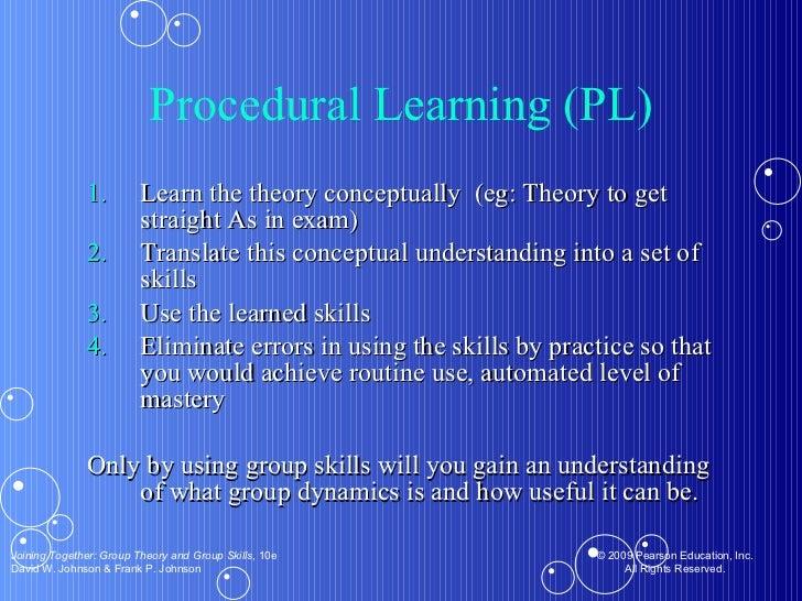 Procedural Learning (PL) <ul><li>Learn the theory conceptually  (eg: Theory to get straight As in exam) </li></ul><ul><li>...