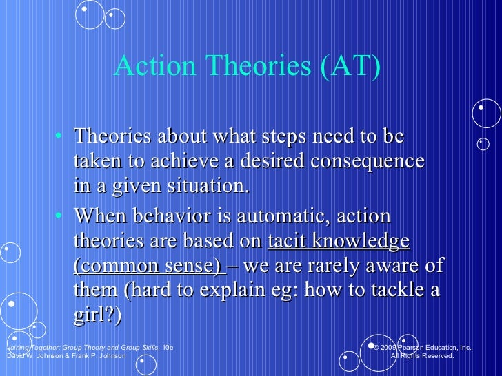 Action Theories (AT)  <ul><li>Theories about what steps need to be taken to achieve a desired consequence in a given situa...