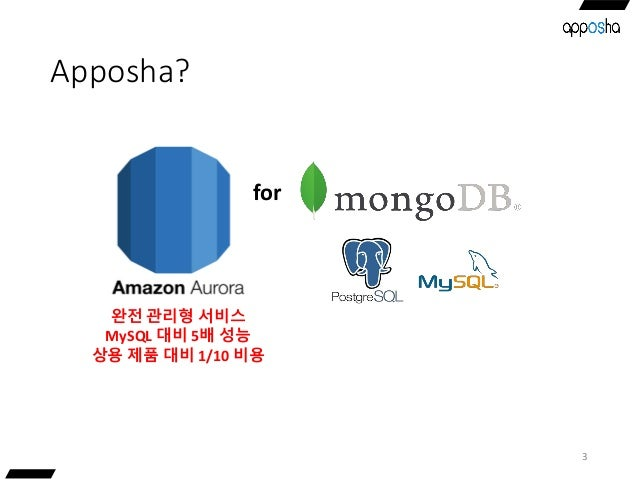 Apposha? 3 완전 관리형 서비스 MySQL 대비 5배 성능 상용 제품 대비 1/10 비용 for