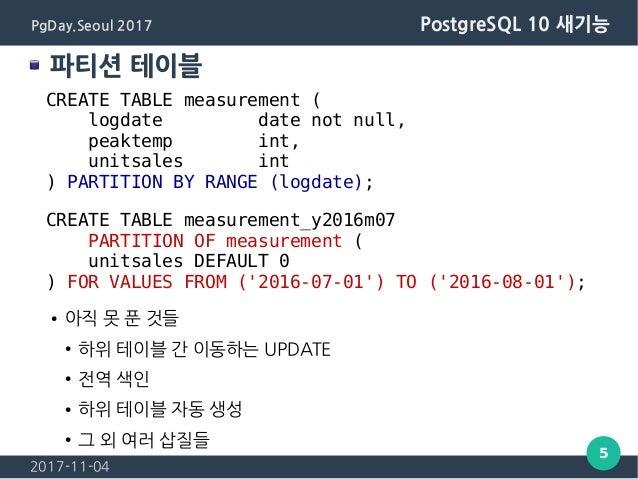 2017-11-04 5 PgDay.Seoul 2017 PostgreSQL 10 새기능 파티션 테이블 CREATE TABLE measurement ( logdate date not null, peaktemp int, un...