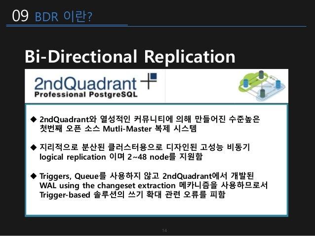 09 BDR 이란? Bi-Directional Replication  2ndQuadrant와 열성적인 커뮤니티에 의해 만들어진 수준높은 첫번째 오픈 소스 Mutli-Master 복제 시스템  지리적으로 분산된 클러스...