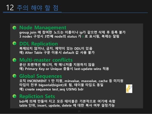 12 주의 해야 할 점 21 Node Management group_join 에 참여한 노드는 이름이나 ip가 같으면 삭제 후 등록 불가 3 nodes 구성시 3번째 node의 status 가 i 로 표시됨, 복제는 잘...