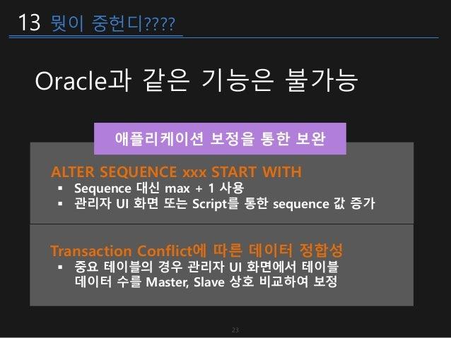 13 뭣이 중헌디???? Oracle과 같은 기능은 불가능 ALTER SEQUENCE xxx START WITH  Sequence 대신 max + 1 사용  관리자 UI 화면 또는 Script를 통한 sequence...