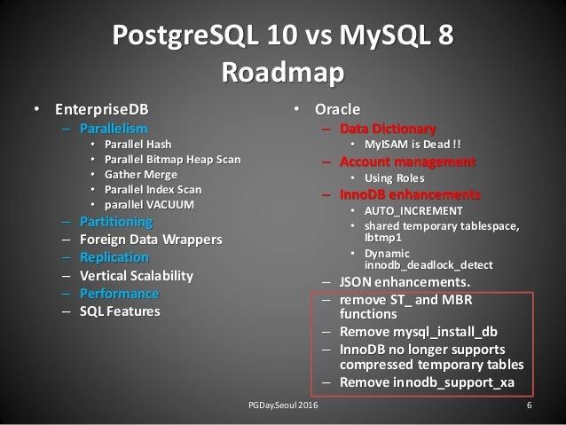 PostgreSQL 10 vs MySQL 8 Roadmap • EnterpriseDB – Parallelism • Parallel Hash • Parallel Bitmap Heap Scan • Gather Merge •...
