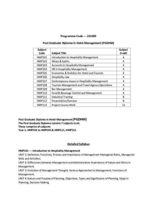 pg diploma in hotel management