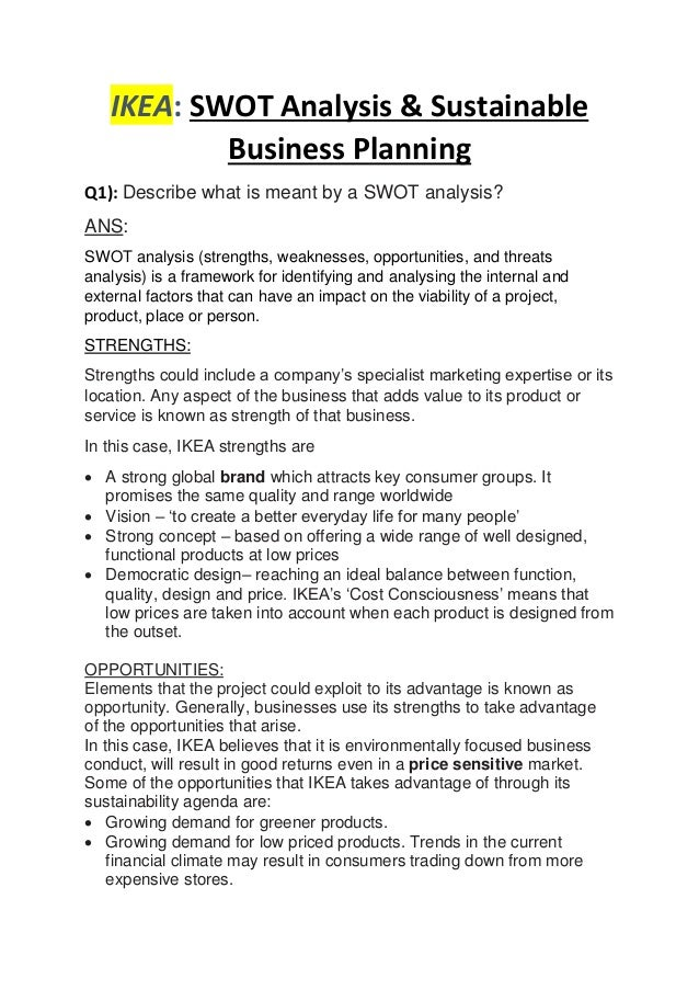 IKEA: SWOT Analysis U0026 Sustainable Business Planning Q1): Describe What Is  Meant By ...
