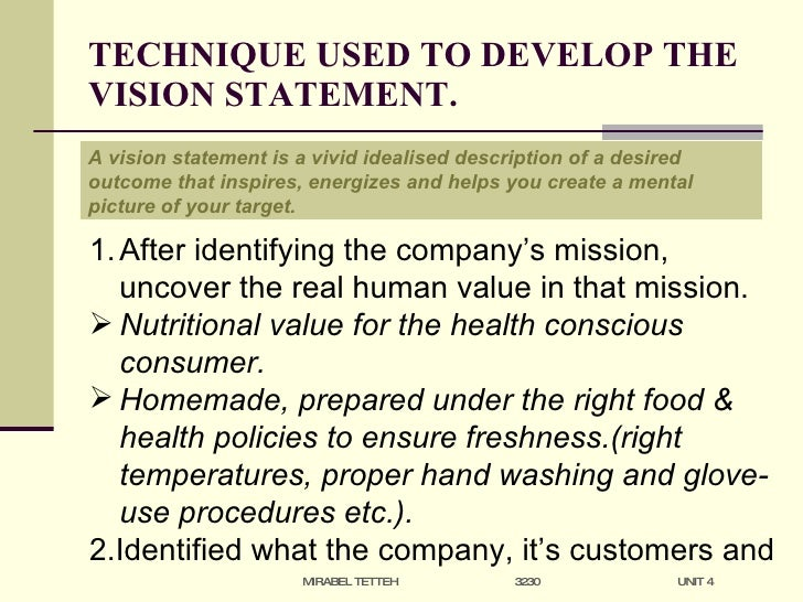 Developing a vision statement