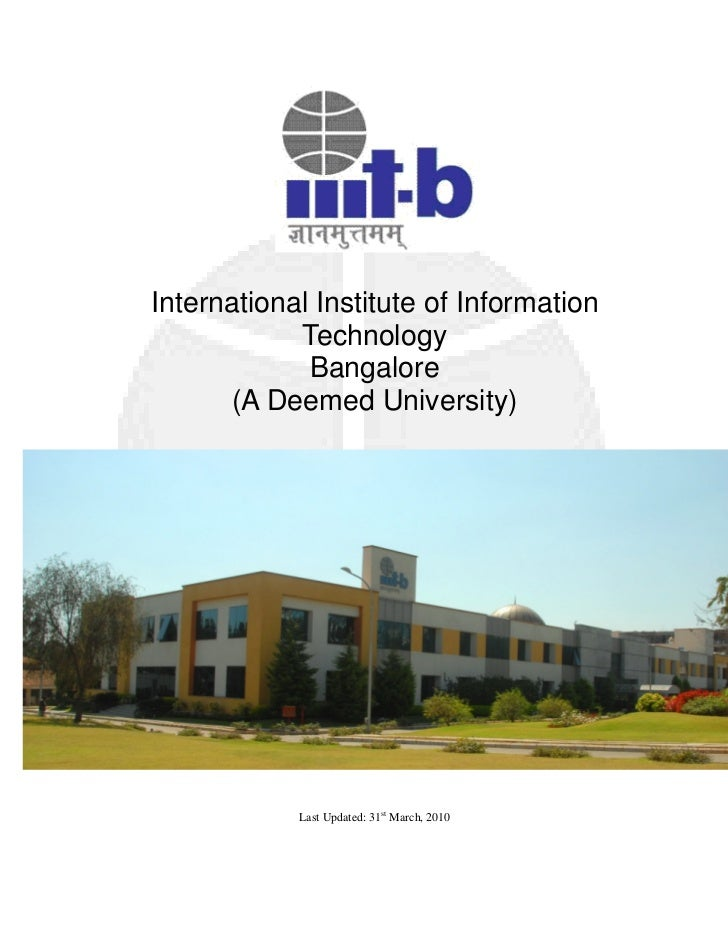International Institute of Information            Technology             Bangalore      (A Deemed University)            L...
