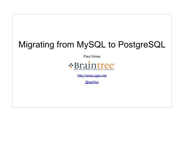 Migrating from MySQL to PostgreSQL