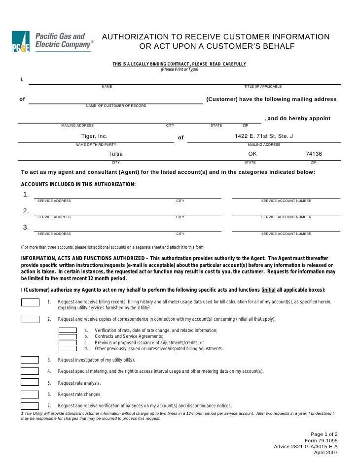 PG&E Authorization Form LOA