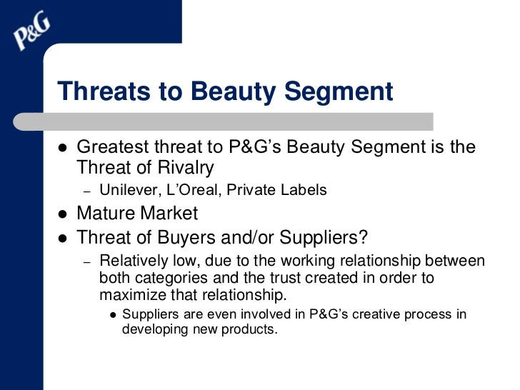 procter and gamble external analysis It will be interesting to follow p&g's future evolution in the three key areas  identified by george day (an externally oriented culture the distinctive  capabilities  at p&g conduct monthly analysis of nielsen data, regularly check  stores to 'feel the.