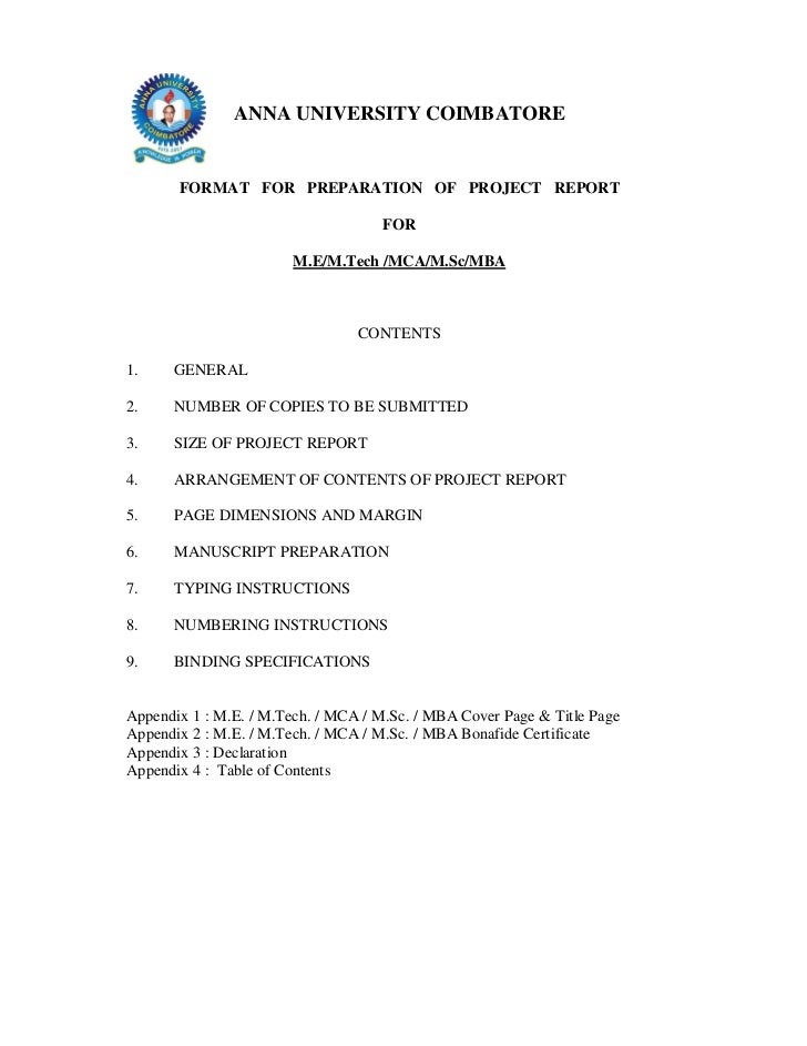 ANNA UNIVERSITY COIMBATORE       FORMAT FOR PREPARATION OF PROJECT REPORT                                    FOR          ...