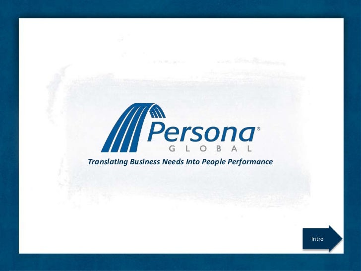 Translating Business Needs Into People Performance                                                     Intro