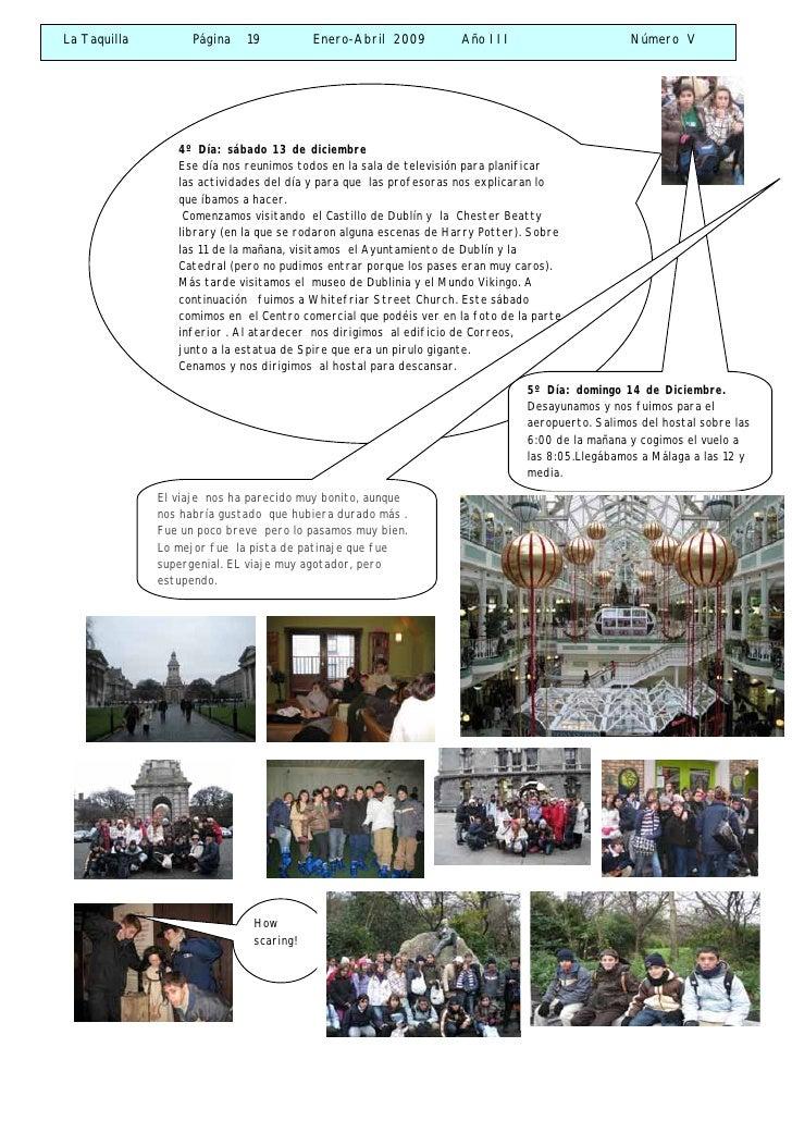 La Taquilla         Página   19          Enero-Abril 2009          Año III                      Número V                  ...