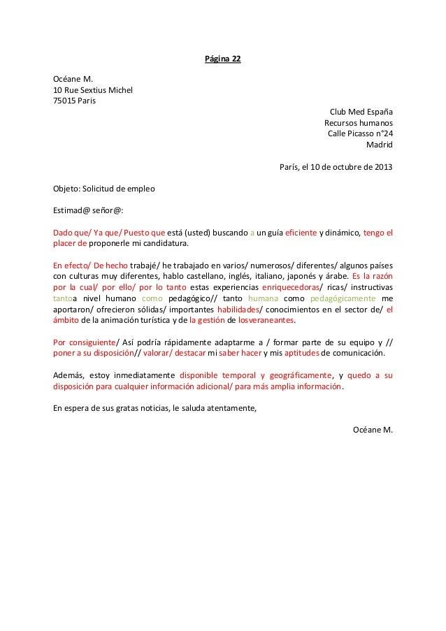 Página 22 Océane M. 10 Rue Sextius Michel 75015 Paris Club Med España Recursos humanos Calle Picasso n°24 Madrid París, el...