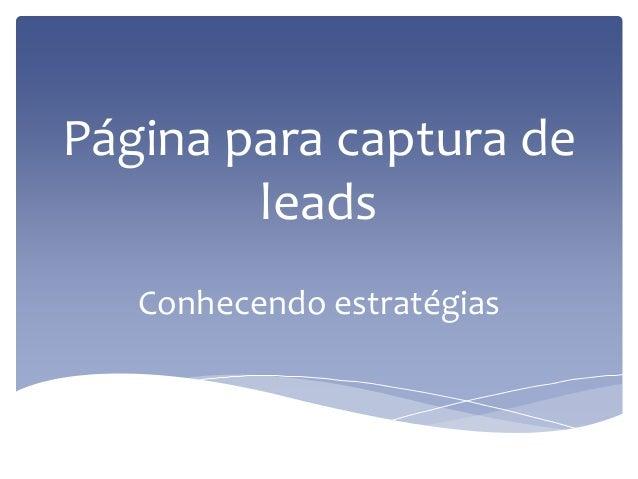 Página para captura de leads Conhecendo estratégias