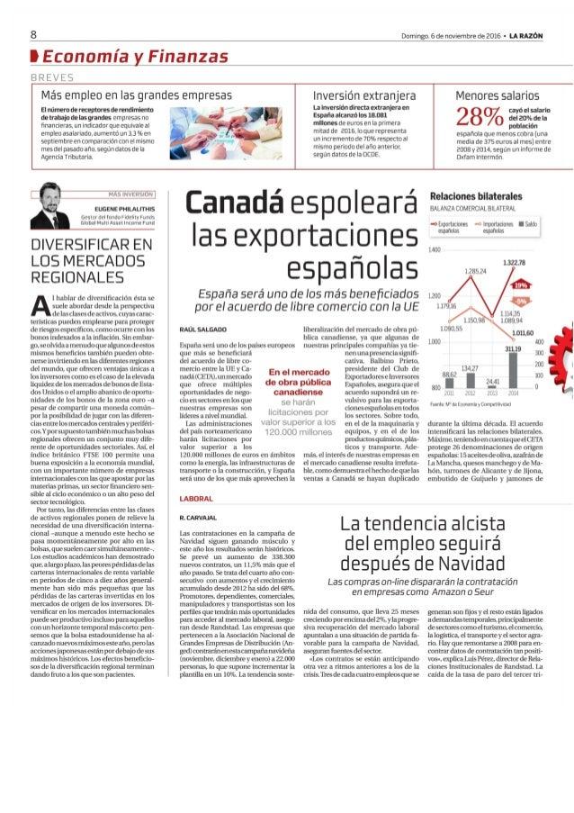 Canadá espoleará las exportacines españolas