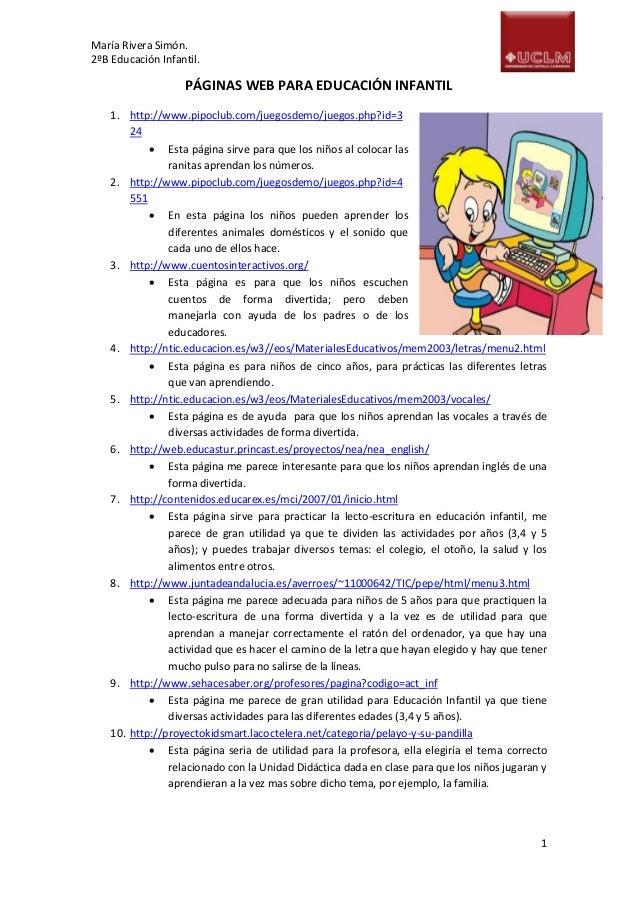 Páginas web para educación infantil