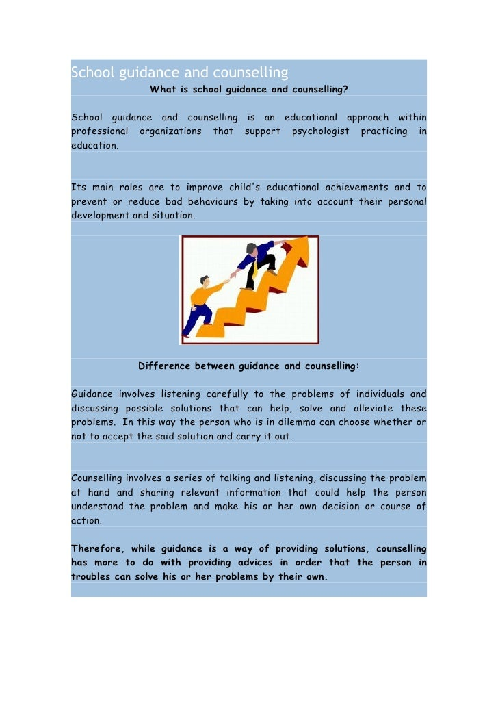 School guidance and counselling                 What is school guidance and counselling?School guidance and counselling is...