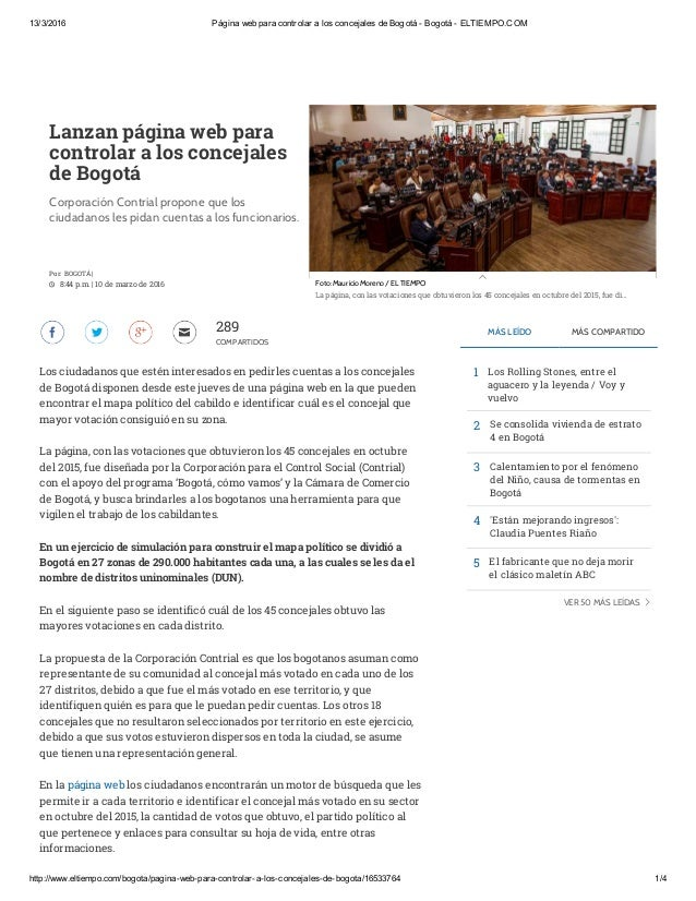 13/3/2016 Página web para controlar a los concejales de Bogotá - Bogotá - ELTIEMPO.COM http://www.eltiempo.com/bogota/pagi...