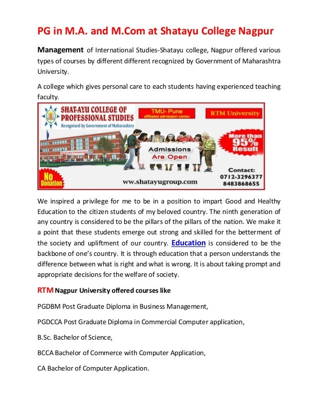 PG in M.A. and M.Com at Shatayu College Nagpur Management of International Studies-Shatayu college, Nagpur offered various...