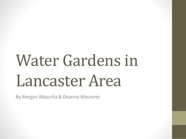 Water Gardens in Lancaster Area By Keegan Woyurka & Deanna Maurone