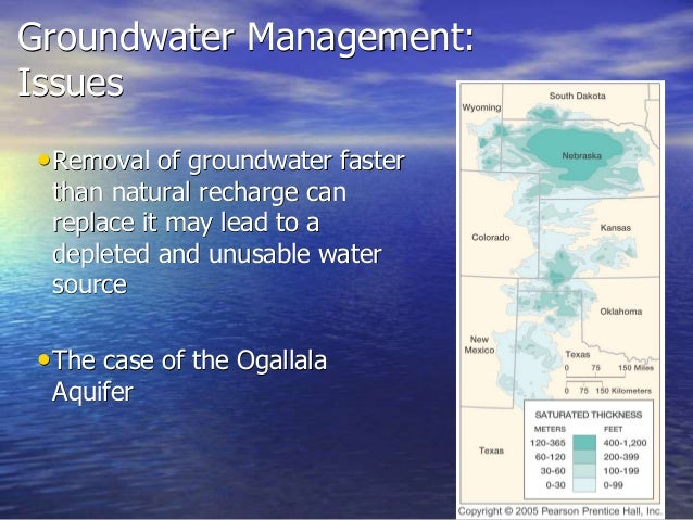 groundwater management groundwater depletion and recharge Improve conditions through planning and cooperative management or equal to the average annual recharge for a groundwater termed seasonal depletion.