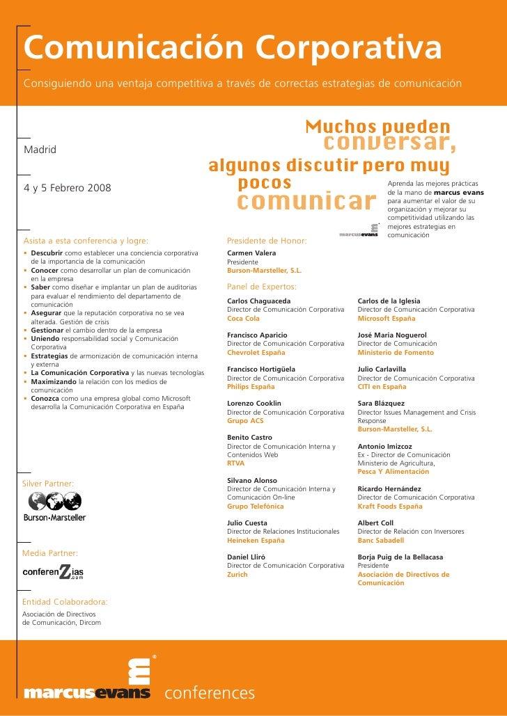 Comunicación Corporativa Consiguiendo una ventaja competitiva a través de correctas estrategias de comunicación     Madrid...