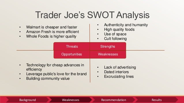 trader joes swot What is trader joe''s strategy the strategy encompasses carrying highly  selective products, offering private-label products, offering small.