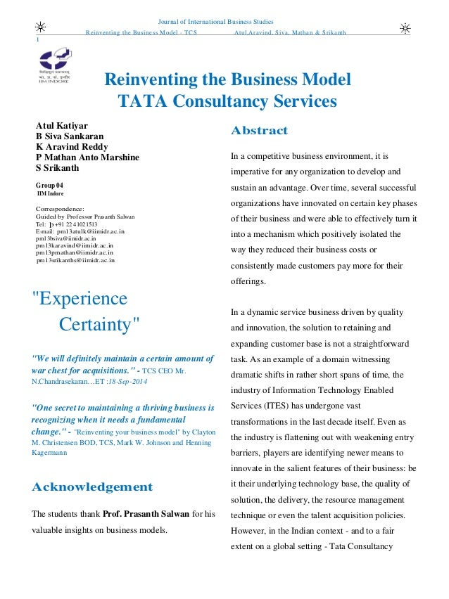 tata consultancy services essay Read this full essay on tcs organization design  introduction and history of  tcstata consultancy services is an indian multinational it service, consulting.