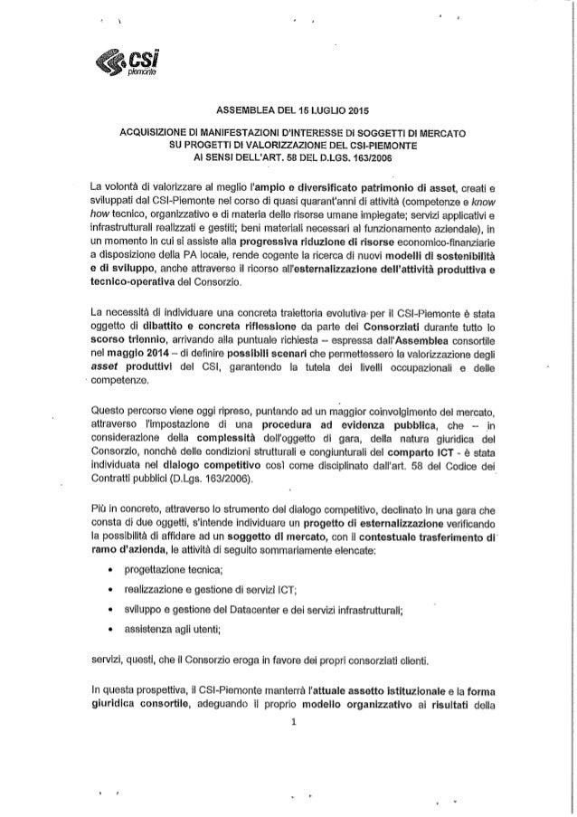 Ordine del giorno per la privatizzazione del Csi Piemonte