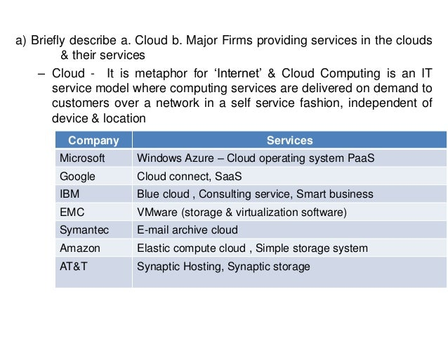 a) Briefly describe a. Cloud b. Major Firms providing services in the clouds & their services – Cloud - It is metaphor for...
