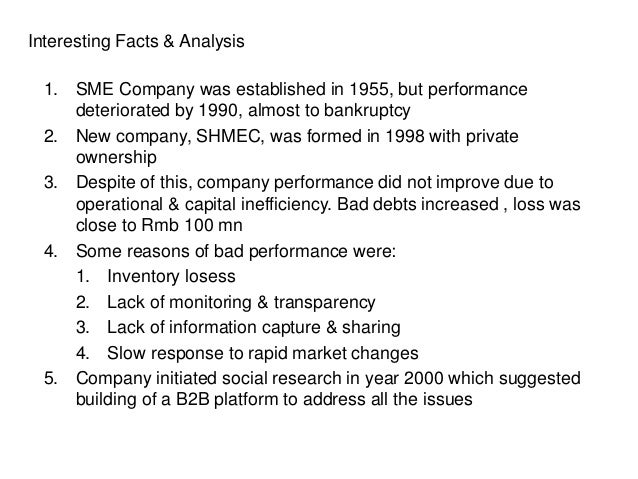 Interesting Facts & Analysis 1. SME Company was established in 1955, but performance deteriorated by 1990, almost to bankr...