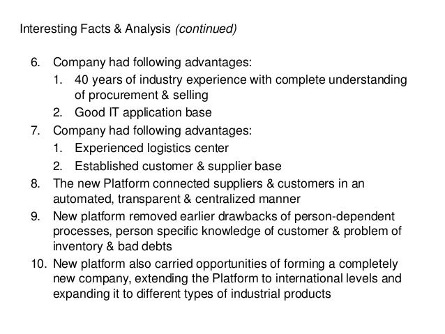 Interesting Facts & Analysis (continued) 6. Company had following advantages: 1. 40 years of industry experience with comp...