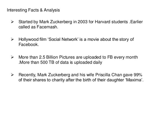 Interesting Facts & Analysis  Started by Mark Zuckerberg in 2003 for Harvard students .Earlier called as Facemash.  Holl...